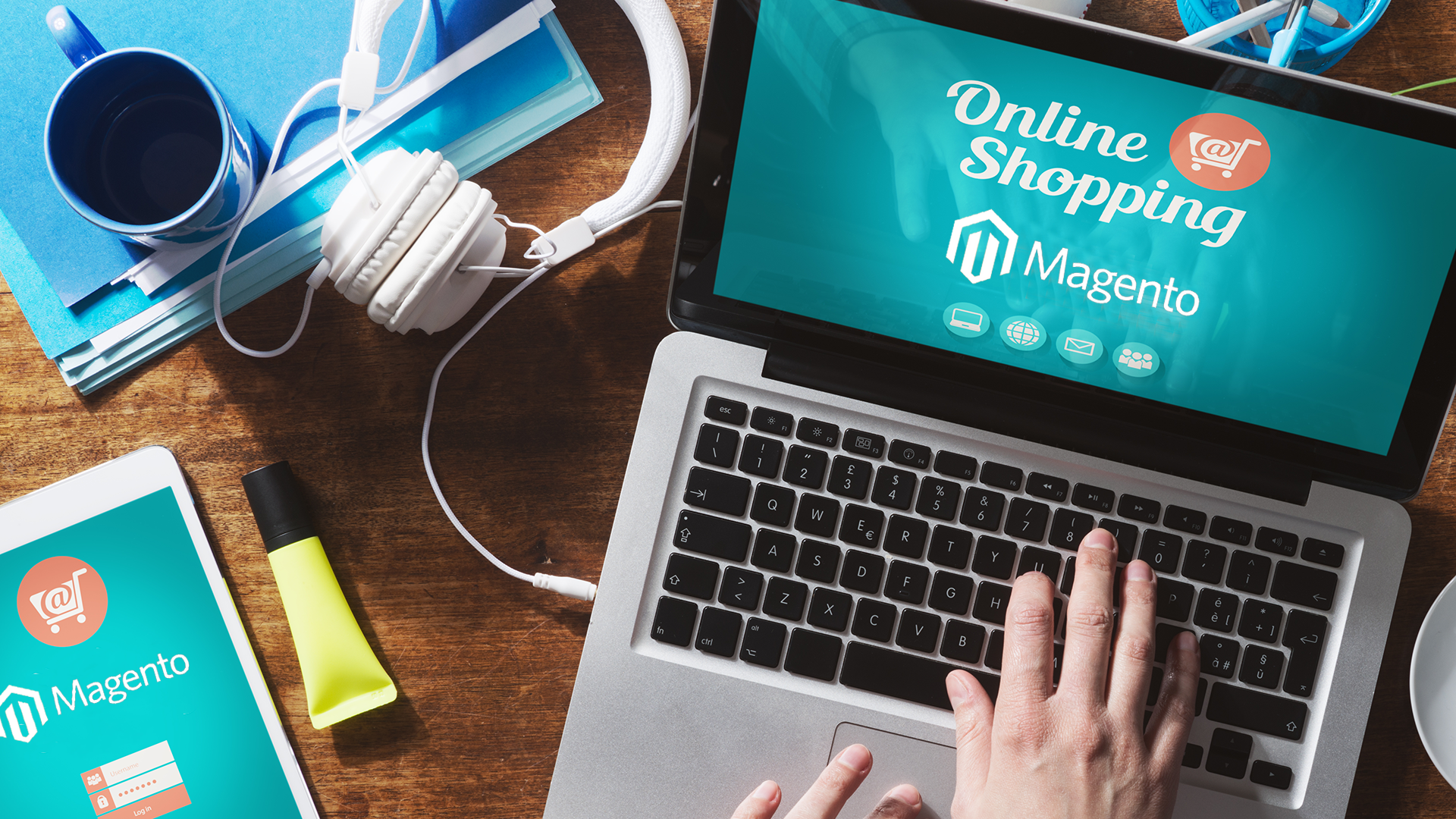 How do webshop owners benefit from the Perfion & Magento Commerce connection?